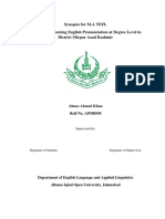 Problem in Learning English Pronunciation at Degree Level in District Mirpur Azad Kashmir