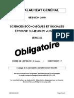 BAC ES 2019 sujet SES Obligatoire