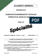 Bac 2019 SES spécialité
