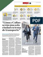 Lima y Callao Serán Una Sola Ciudad en Tema de Transporte