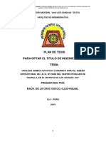 Plan de Tesis Analisis Sismico Estatico y Dinamico Para El Diseño Estructural de La i.e. Nº 22485 Del Centro Poblado de Yaurilla, En El Distrito de Los Aquijes- Ica