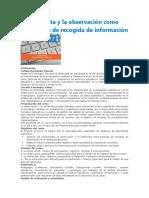 La Entrevista y La Observación Como Estrategias de Recogida de Información