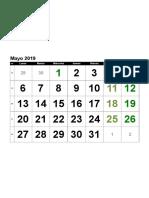 Calendario Mayo 2019 Numeros Grandes