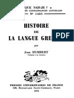 Histoire de La langue grecque.