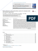 Recent Advances in Solar Photovoltaic Systems for Emerging Trends and Advanced Applications
