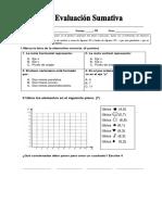 Evaluación  plano cartesiano  y  lineas 5°