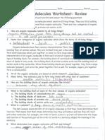 Organic Molecules Worksheet Re(Key)