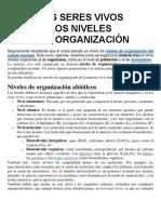 Los Seres Vivos - Los Niveles y La Organización