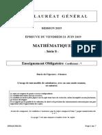 Epreuve de Mathématiques série S
