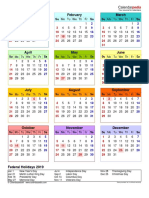 2019 Calendar Portrait Year at a Glance in Color