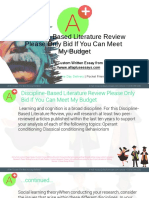 Discipline-Based Literature Review Please Only Bid if You Can Meet My Budget