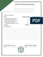 Business Plan Evaluation Performa