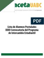 Edición Especial Lista de Alumnos Postulados XXXII Convocatoria del Programa de Intercambio Estudiantil-Gaceta 419