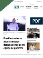 Presidente Electo Anuncia Nuevas Designaciones de Su Equipo de Gobierno - Metro Libre