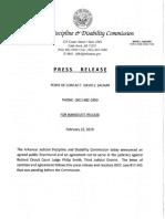 Arkansas Judicial Disciplinary Action of Philip Smith Sanction Press Release