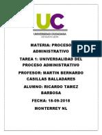 Universalidad del proceso Administrativo