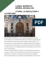 El Arte Colonial Barroco Indigena Español en Bolivia