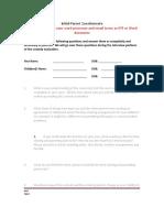 Initial Parent Questionnaire 0415
