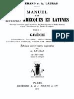 Manuel des études grecques et latines. Tome I Grèce.