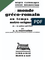 Le Monde gréco-romain au temps de Notre Seigneur - II Le Milieu spirituel.