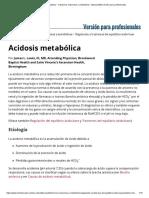 Acidosis Metabólica - Trastornos Endocrinos y Metabólicos - Manual MSD Versión Para Profesionales