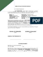 Deed of Sale of Motor Vehicle - FERNANDEZ