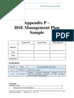 Appendix P - HSE Management Plan