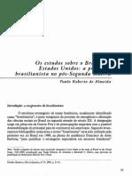 Almeida (2001) Os Estudos Sobre o Brasil Nos Estados Unidos a Produção Brasilianista No Pós-Segunda Guerra