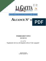 Decreto Nº 41779. Reglamento de la Ley del Impuesto sobre el Valor Agregado