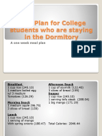 Meal Plan for College Students Who Dorm