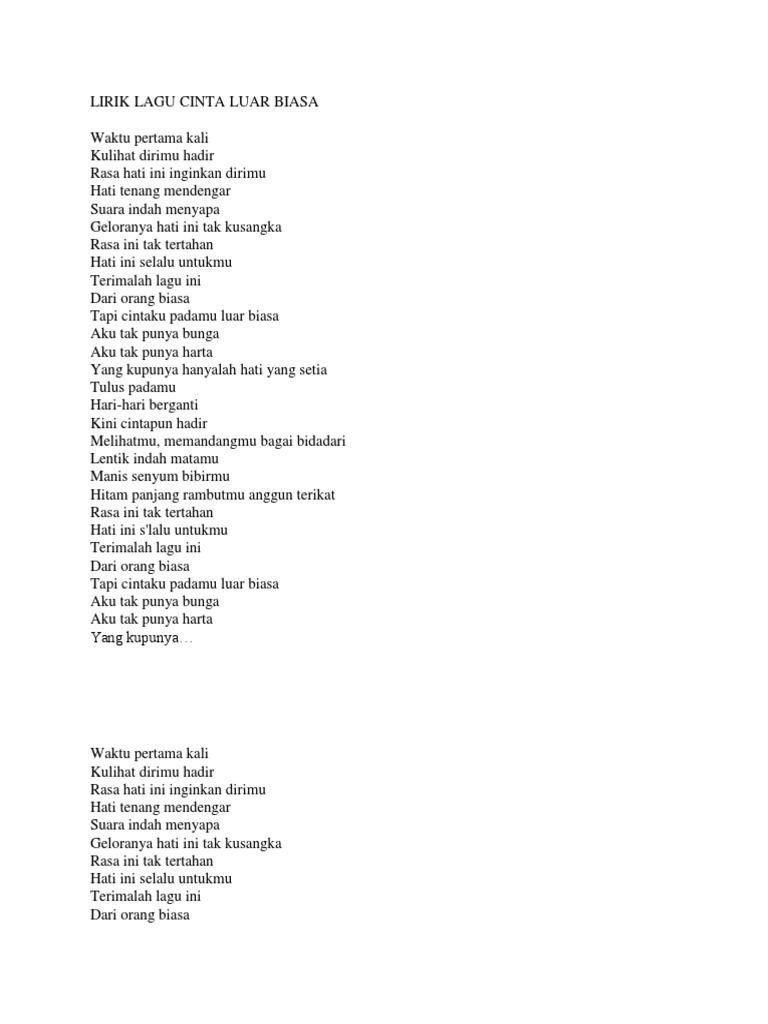 Lirik Lagu Cinta Luar Biasa