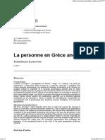 Ildefonse, Frédérique - La Personne dans la Grèce ancienne