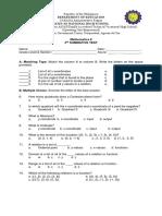 G-8 3rd Summative Test