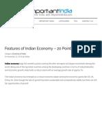 Featurres of Indian Economic