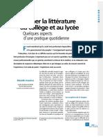 Enseigner La Littérature Au Collège Et Au Lycée