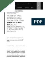 Criterios para diferenciar la Sociología de la Antropología Social