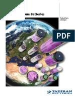 Product Data Catalogue Tadiran Lithium Batteries