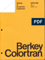 Berkey Colortran Lighting & Production Equipment Price List 1-1974