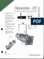 Colortran 5-50 Ellipsoidal 20 Deg. Spec Sheet 1995