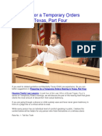 Preparing for a Temporary Orders Hearing in Texas, Part Four