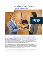 Preparing for a Temporary Orders Hearing in Texas, Part Five