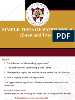 8mmw Simple Test of Hypothesis z t