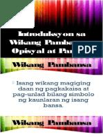 Wikang Pambansa, Opisyal at Panturo