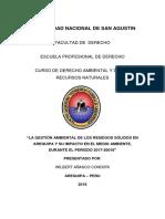 La Gestión Ambiental de Los Residuos Sólidos en Arequipa y Su Impacto en El Medio Ambiente, Durante El Periodo 2017-20018