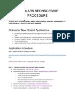 Scholars Sponsorship Procedure