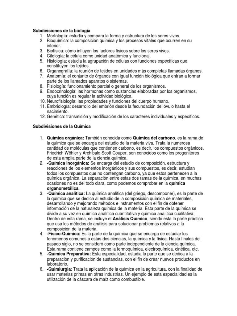 Subdivisiones De La Biología Química Biología