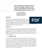 Validacion De Un Metodo Analitico Para La Determinacion De Cobre, Arsenico Por Espectrocopia Y Cromo Hexavalente Por Espectrofotometria Presentes En El Agua.docx
