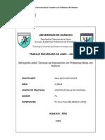 Monografía Técnicas de Intervención Con Niños Con Autismo Junio - Julio 2018