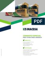 Especificación técnica Cemento especial