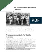 Cuáles Fueron Las Causas de La Revolución Mexicana